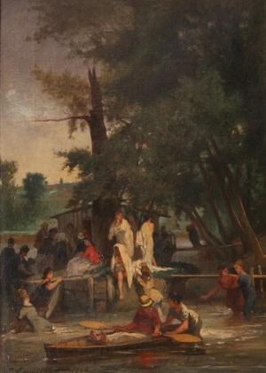 Jules Cornillier, La Grenouillère, 1864. ( coll. Privée  Photo Michel Prigent)