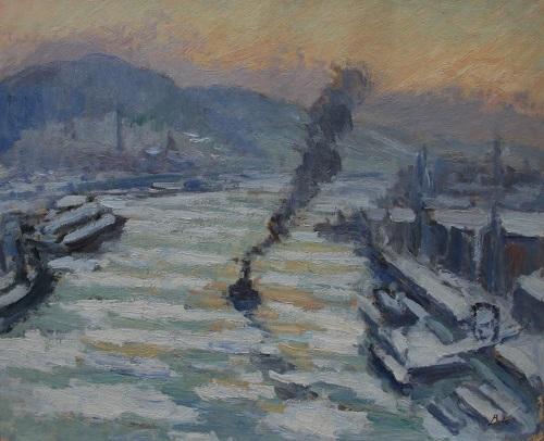 Léonard Bordes, Glaçons sur la Seine à Rouen, 1931. ( coll. Privée - Michel Prigent)