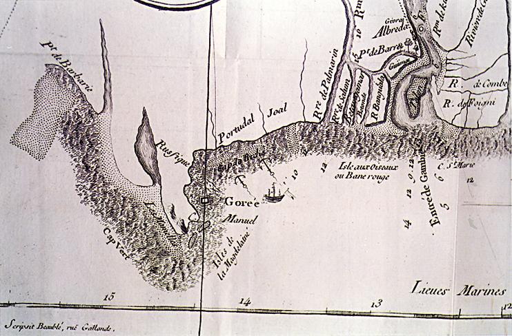 Carte des côtes du Sénégal d'après une carte fournie par l'Abbé Demanet dans son ouvrage publié en 1767.?On aperçoit le Cap Vert (où est actuellement implanté la ville de Dakar) où Jehan Prunaut et ses «?preux » compagnons eurent leur premier contact avec des Noirs, des Wolofs, peu après Noël 1364. On notera aussi Rufisque, où le français se serait conservé, vers le sud, les rivières Saloum et Gambie. Sur cette carte, le nord est à gauche.