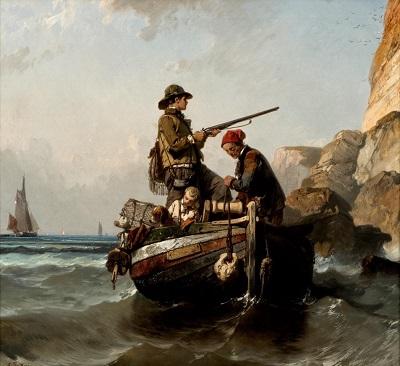 Eugène Le Poittevin, La chasse aux guillemots, huile sur toile, collection Les Pêcheries, musée de Fécamp, achat 2018. Inv. 2018.23. ( Cliché François Dugué)