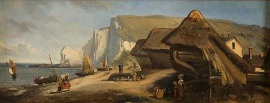 Eugène Le Poittevin, tretat, 1842, huile sur papier marouflé, collection Les Pêcheries, musée de Fécamp, legs André-Paul Leroux, 1950. Inv. FEC.225. ( Cliché Imagery)