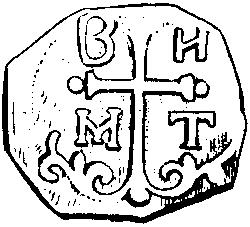 Autre monnaie attribuée à Bohemond Ier. Elle présente le buste de Saint Pierre, patron d'Antioche, sur une face et une croix pommetée au pied fleuronné accompagnée des quatre lettres BHMT sur l'autre face. (© Patrimoine Normand)