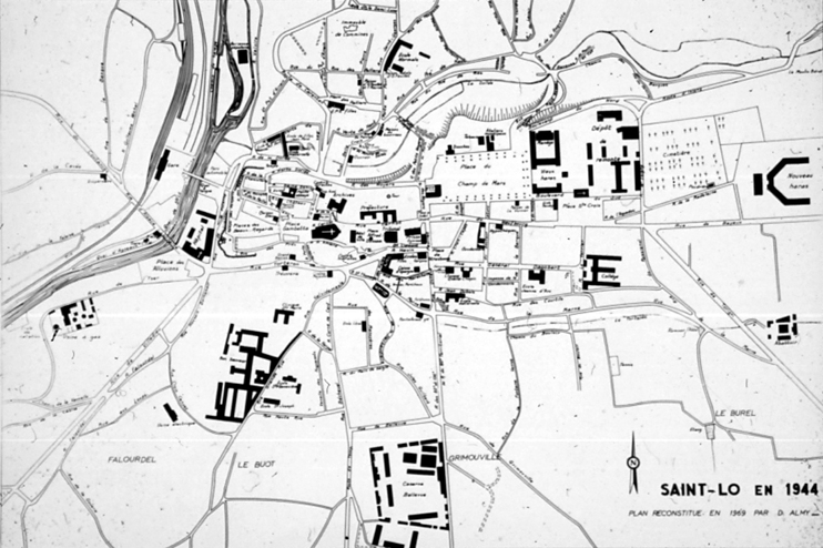 Reconstitution du plan de Saint-Lô avant 1944 par Monsieur D. Almy. (© Coll. Patrimoine Normand.)