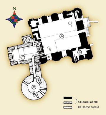 Plan du donjon : A. Grand donjon. B. Chapelle Saint-Prix. C. Petit donjon. D. Tour Talbot. 1. Ancienne brèche d'accès. 2. Porte d'entrée. 3. Escalier supérieur. 4. Escalier inférieur. 5. Puits. 6. Cave voûtée. 7. Escalier du petit donjon. 8. Escalier de la Tour Talbot. 9. Escalier de la crypte. 10. Escalier inférieur de la tour Talbot. 11. Escalier supérieur. (© Patrimoine Normand.)