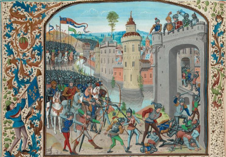 Le roi d'Angleterre arrive devant Caen le 26 juillet 1346. (Jean Froissart, Chroniques - Tome 1 : Parchemin, 433 ff., 428-433 x 318-324 mm, 48 miniatures (ms. fr. 2643) Paris, Bibliothèque nationale de France, mss, Fr. 2643-2649.)