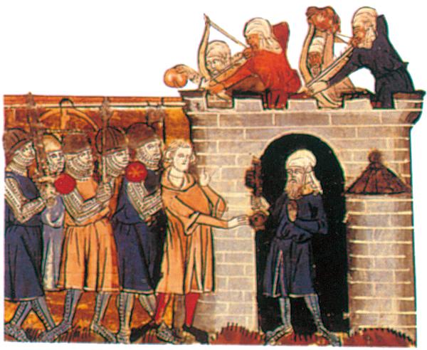 Prise de Tarse par Tancrède  de Hauteville.  Miniature in Roman de Godefroy de Bouillon et de Saladin, XIVe siècle.  Bibliothèque Nationale Paris.