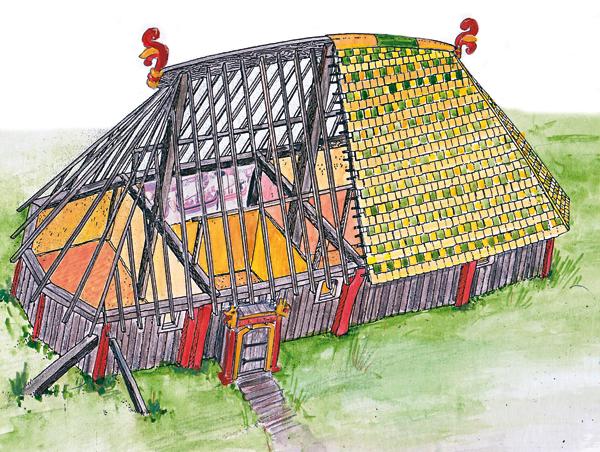 Reconstitution du logis de Mirville au nord de la Seine daté de la seconde moitié du XIe siècle, grande maison de bois de 17 mètres de long, aux murs incurvés et à la toiture bombée, comme au Danemark et dans le nord-est de l'Angleterre, et comme le montrent des exemples de la Broderie de Bayeux. Nous avons ici modifié la reconstitution de Jacques Le Maho en ajoutant des éléments de décor (peinture et palmettes) présents sur la Broderie de Bayeux (© Heimdal d'après J.Le Maho).