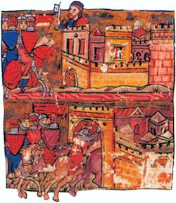 La reddition dAntioche, les croisés entrent dans la ville.  Miniature de lHistoire dOutremer de Guillaume de Tyr. XIIIe siècle. Bibliothèque municipale, Lyon.