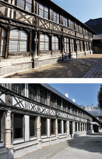 L'aître Saint-Maclou. Vue extérieure de la galerie avant et après travaux. (© Serge Van Den Broucke & Rodolphe Corbin)