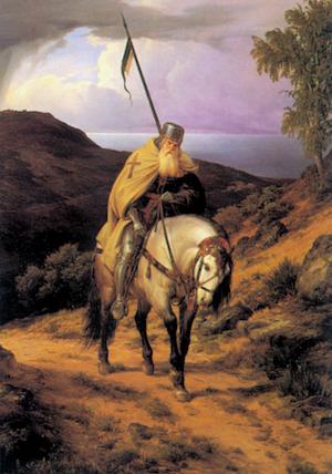 Peinture de K.F. Lessing, retour de la croisade. Huile sur toile du XIXe siècle.
