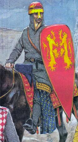 Richard Cœur de Lion, d'après plusieurs sceaux de la fin du XIIe siècle, représenté ici par Richard Hook dans The Crusades des éditions Osprey. La peinture de son casque rappelle celle de celui de son grand-père Geoffroy. Les lions sont ici encore affrontés. (© Osprey Publishing.)