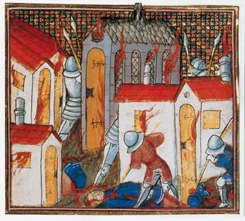 L'incendie de Saint-Lô en 1346 (Ms 864, fol. 130, Besançon, Bibl. municipale.)