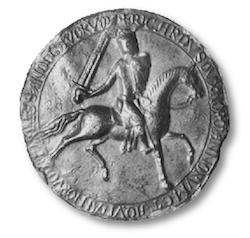 Ce grand sceau de Richard Cœur de Lion est tardif, daté de 1194 après sa sortie de captivité, mais il semble présenter ici trois léopards sur son écu. Les deux formules ne semblent pas encore fixées. Dans ce cas, nous avons là une première version aux trois léopards. (© Public Records Office, London.)
