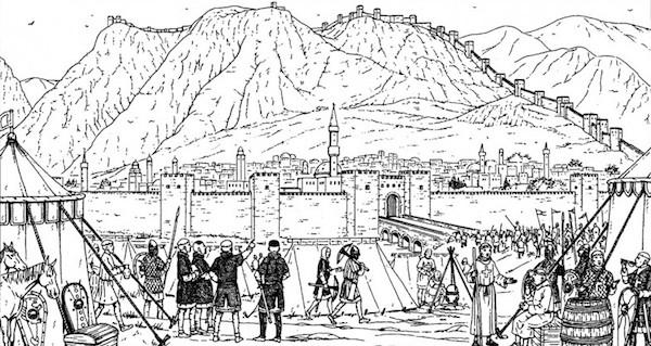 Les croisés s'installent devant Antioche en octobre 1087. (© Assor BD)