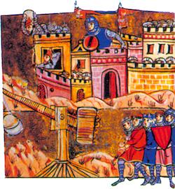 Le siège d'Antioche. Miniature de l'Histoire d'Outremer de Guillaume de Tyr. XIIIe siècle. (Bibliothèque municipale, Lyon)