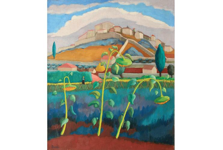 Trois soleils ou Tournesols, Madeleine Dinès, vers 1948-1949, huile sur toile, coll. part. (© ADIN - Olivier Goulet)