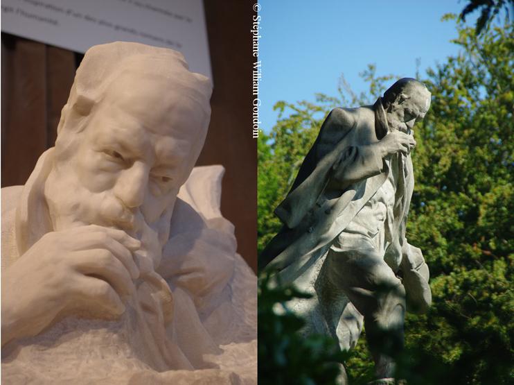 À gauche, buste de Victor Hugo conservé au MuMa du Havre. Il a servi de modèle pour la statue dressée dans les Candy gardens de Saint-Pierre-Port, à Guernesey, où l'auteur resta en exil de nombreuses années. (© Stéphane William Gondoin)